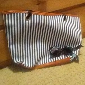 Bags - Blue and White Striped Summer Purse